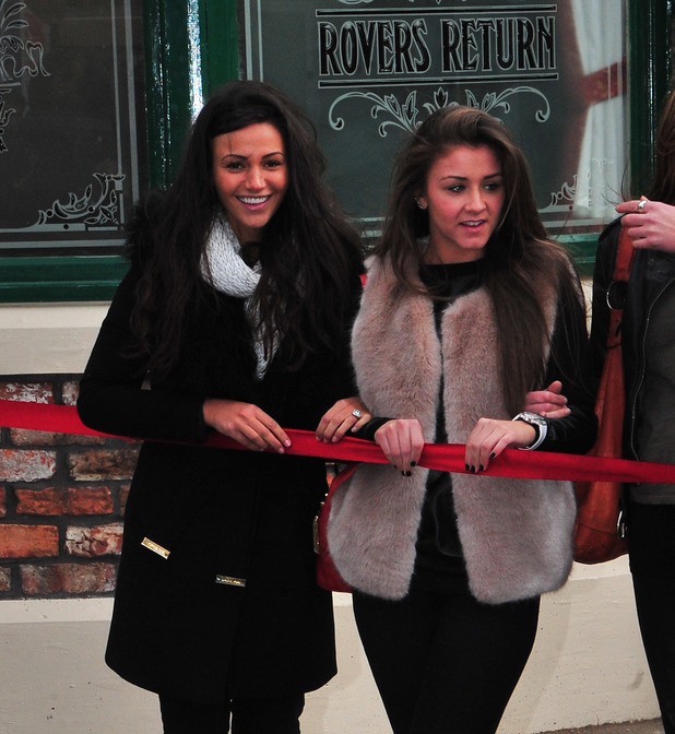 Brooke Vincent and Michelle Keegan on new set of Coronation Street is revealed, moving from Quay Street to the new home of Media City. 11/29/2013 Manchester, United Kingdom