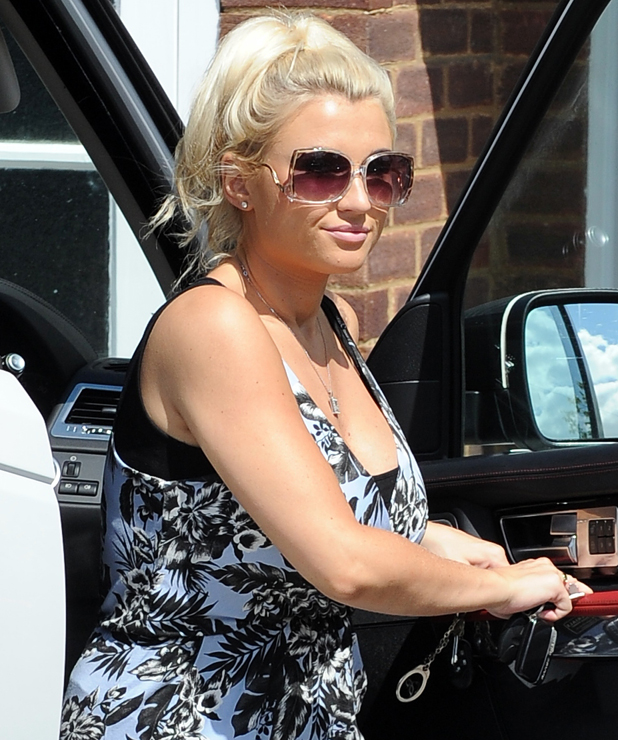 Billie Faiers wears a tropical blue jumpsuit from Minnies Boutique while out in Essex after daughter's birth, 15 July 2014