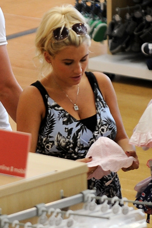 TOWIE star Billie Faiers shops at Mothercare with Greg Shepherd after the birth of their daughter, 15 July 2014