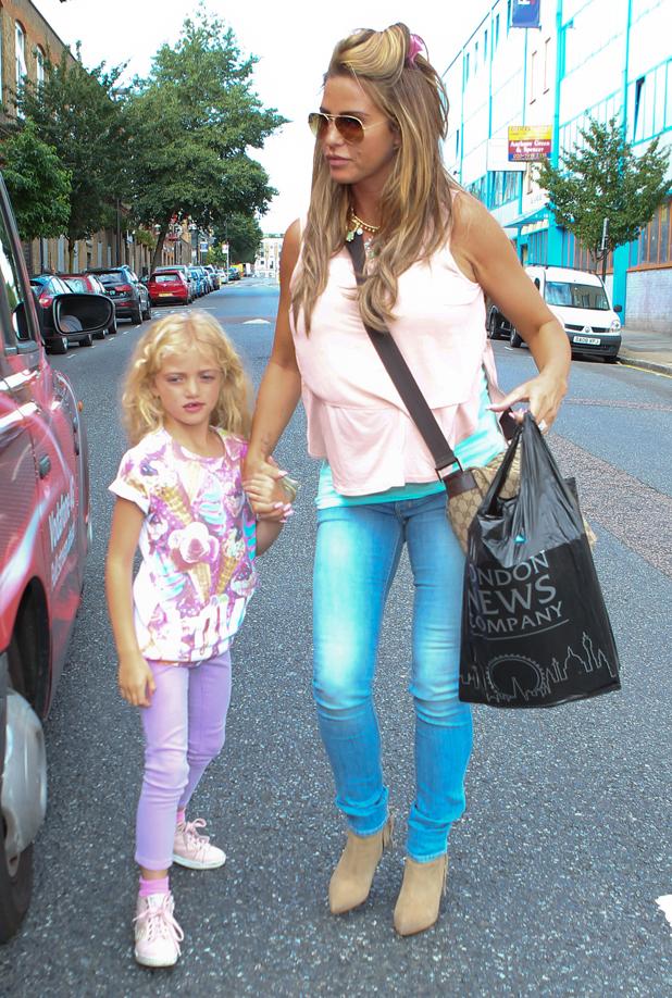 Katie Price arrives at Fubar Radio studios with her daughter Princess, 15 July 2014