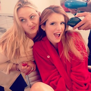 Bella Thorne and her make-up artist Amy Oresman behind-the-scenes stage on Neutrogena shoot, 16 July 2014