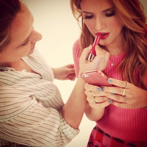 Bella Thorne and her make-up artist Amy Oresman behind-the-scenes stage on Neutrogena shoot, 19 July 2014