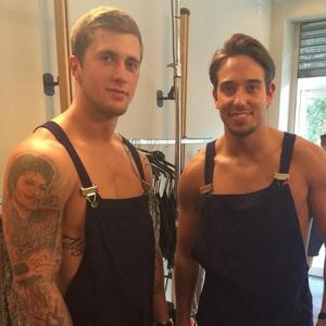 TOWIE's Dan Osborne and James 'Lockie' Lock help out in Danielle Armstrong's shop (21 July).