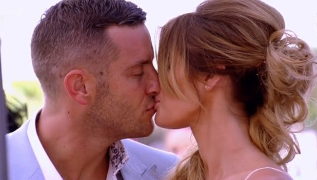 Elliott Wright and Chloe Sims share a kiss during his sister Leah's wedding celebrations. 23 July.