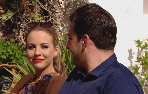 TOWIE: Lydia Bright and James 'Arg' Argent gaze at each other at Leah Wright's wedding. Episode airs: 23 July 2014.