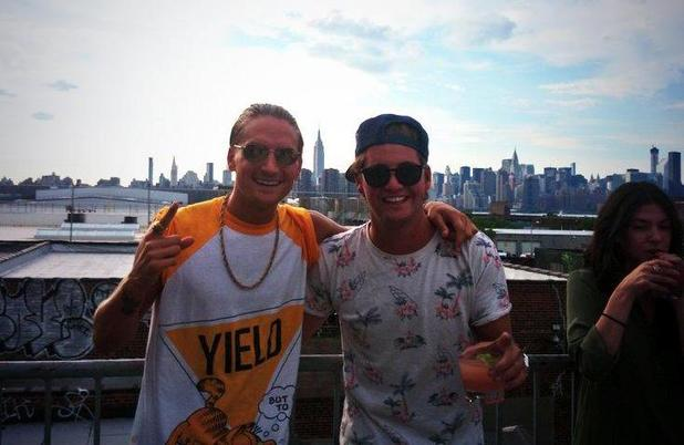 Made In Chelsea's Oliver Proudlock and Stevie Johnson pose for a picture in New York (21 July).