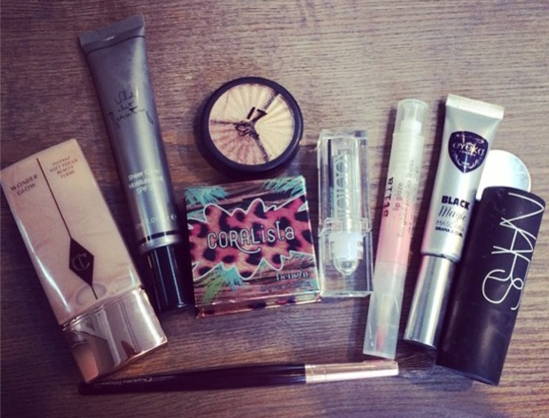 Millie Mackintosh posts a picture of the make-up products behind her sunkissed look - 21 July 2014
