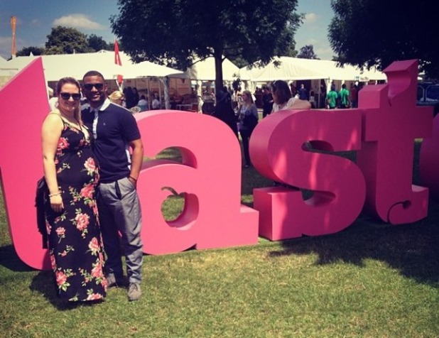 JB Gill and wife Chloe at Taste London in June