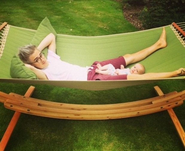 Tom Fletcher hangs out with baby son Buzz - 21 July 2014.