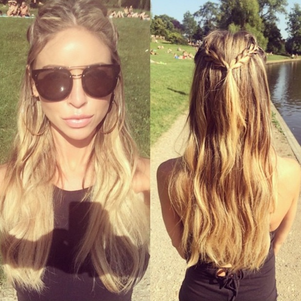 TOWIE's Lauren Pope shows off braided half-up, half-down hairstyle - 18 July 2014