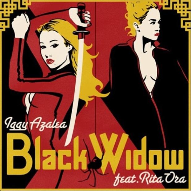 Iggy Azalea and Rita Ora cover art for 'Black Widow'.