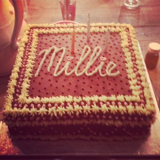 Millie Mackintosh gets an amazing cake on her 25th birthday, 26 July 2014