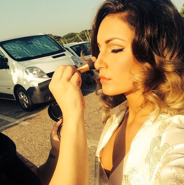 Sam Faiers takes an Instagram picture while having her make-up applied - 25 July 2014