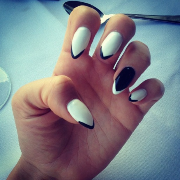 TOWIE's Lydia Bright shows off a monochrome arrow nail art design - 22 July 2014