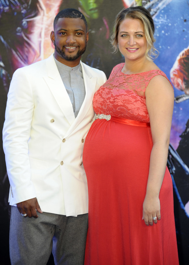 JB Gill and wife Chloe Tangney at UK premiere of 'Guardians of the Galaxy' at Empire Cinema Leicester Square - Arrivals. 24 July 2014.