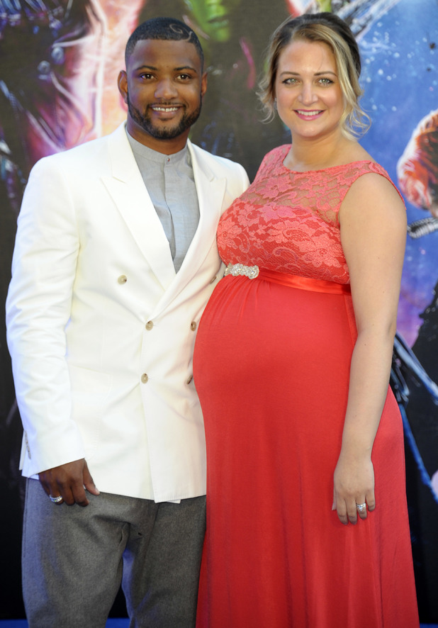 JB Gill and wife Chloe at the Guardians of the Galaxy premiere, 24.7.14