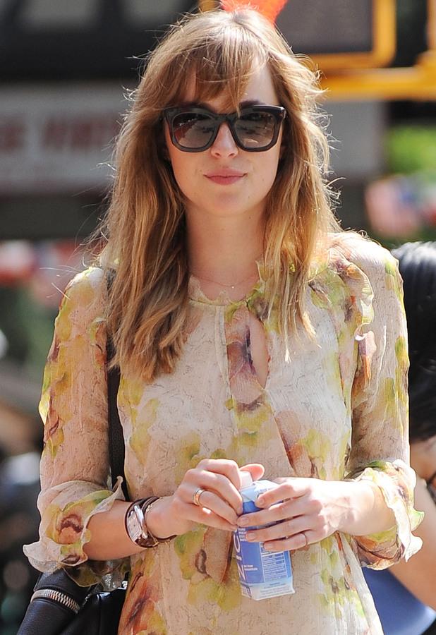Dakota Johnson rocks boho chic in floaty summer dress, New York - 25 Jul 2014