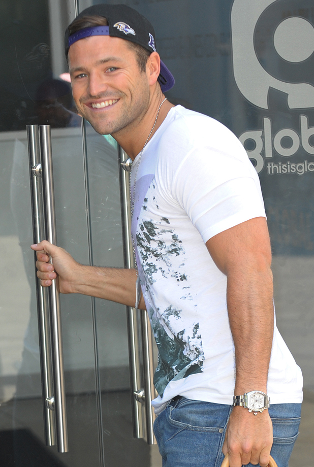 Mark Wright arriving at Capital Radio in London, 24 July 2014