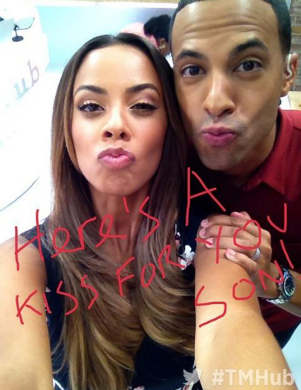 Marvin and Rochelle Humes send a kiss to Niall Horan on This Morning, 25 July 2014