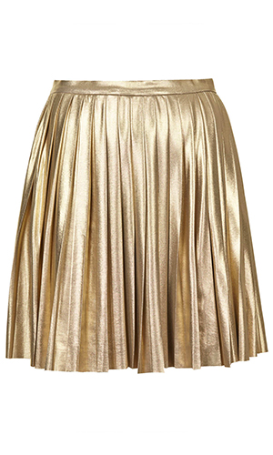 Jovonna at Topshop gold pleated skirt