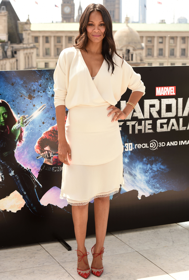 Zoe Saldana at the 'Guardians of the Galaxy' film photocall, London, Britain - 25 Jul 2014