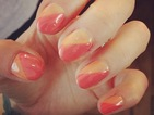 Copy Fearne Cotton's summery diagonal peach and coral manicure