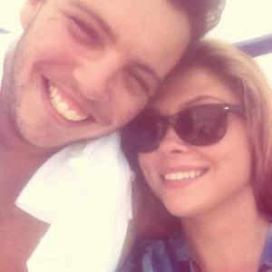 TOWIE's Fran Parman and boyfriend James 'Diags' Bennewith take selfie in Ibiza. (1 August).