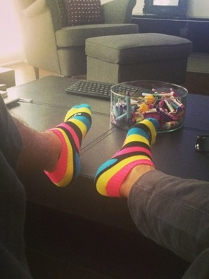 Aston Merrygold posts picture of his ridiculous socks, July 2014.
