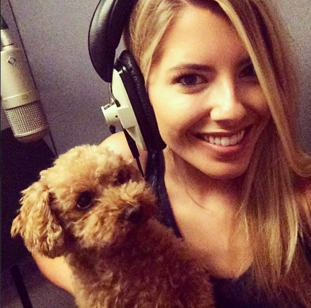 Mollie King and dog Alfie in the studio, Instagram, 28 July
