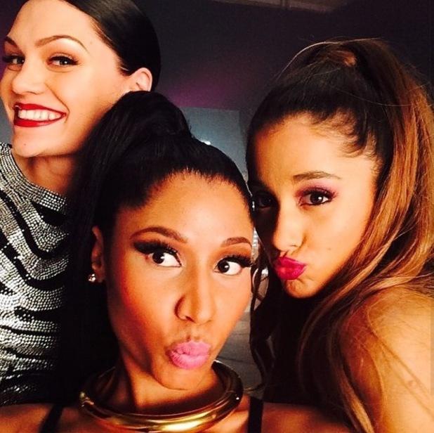 Jessie J, Nicki Minaj and Ariana Grande onset of 'Bang Bang' video, US 31 July