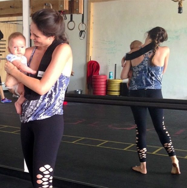 Laguna Beach's Christina Schuller works out with her baby Christian - 30 July 2014