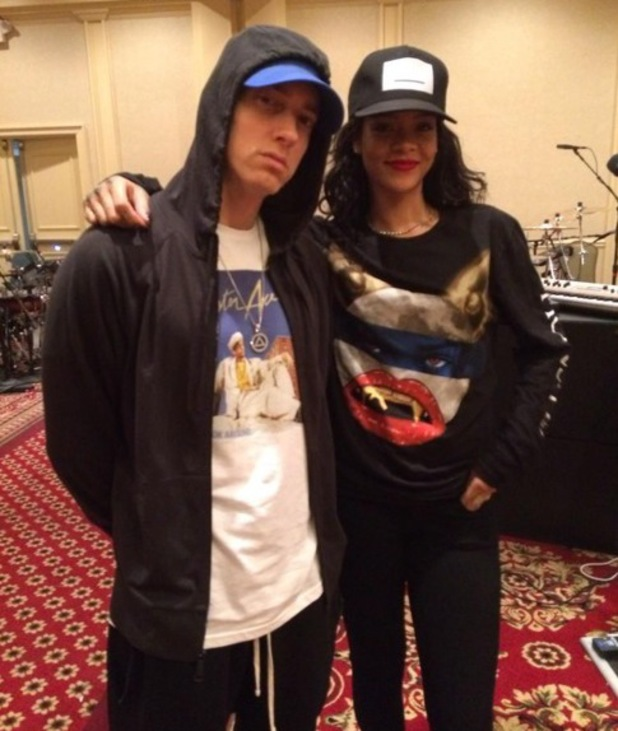 Rihanna and Eminem at rehearsals for their 'Monster' tour, Detroit, Twitter 29 July