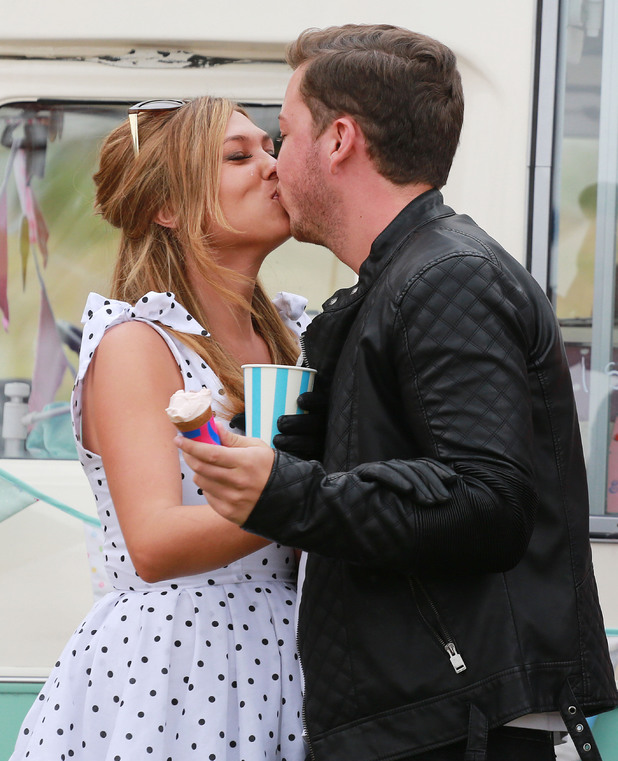 The Only Way is Essex (TOWIE) filming a Grease themed party, Kent, Britain - 27 Jul 2014 James 'Diags' Bennewith, Fran Parman