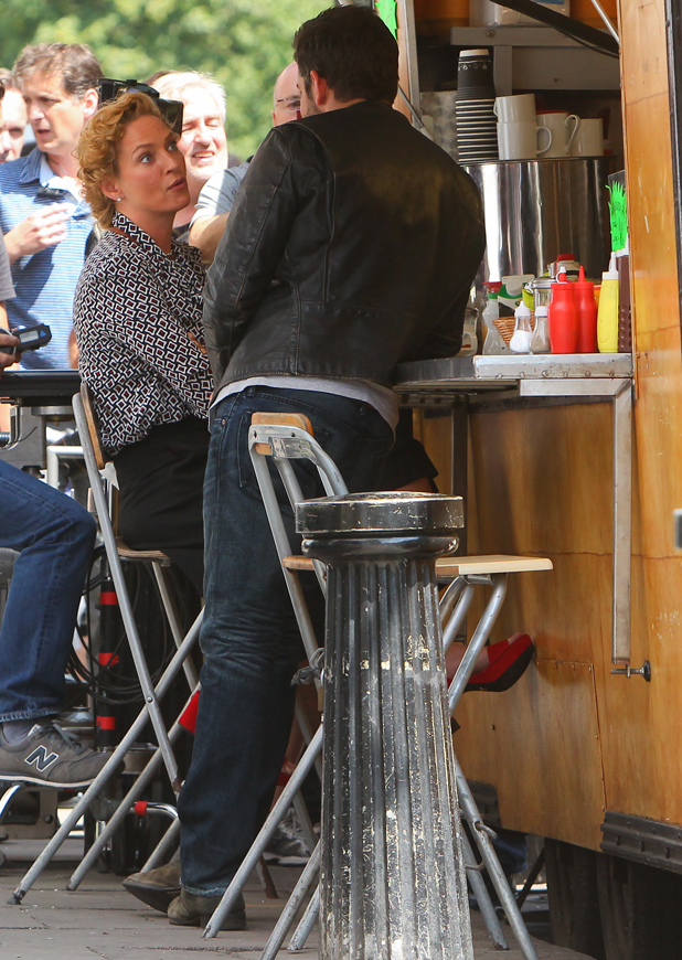 Bradley Cooper and Uma Thurman filming scenes for their upcoming movie 'Adam Jones' in Notting Hill, 30 July 2014