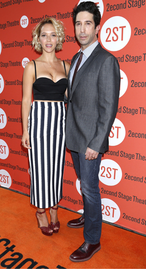 David Schwimmer and wife Zoe Buckman, Opening night of Sex With Strangers at the Second Stage Theatre - Arrivals, 30 July 2014