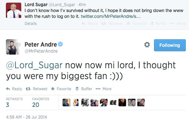 Lord Alan Sugar pokes fun at Peter Andre's website tweet, 28 July 2014