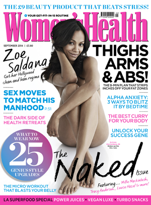 Zoe Saldana stars on cover of Women's Health Body For Life campaign, July 2014
