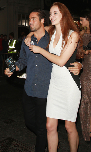 Spencer Matthews at The Expendables 3 - UK film premiere Afterparty at DSTRKT - with mystery red head. 08/04/2014