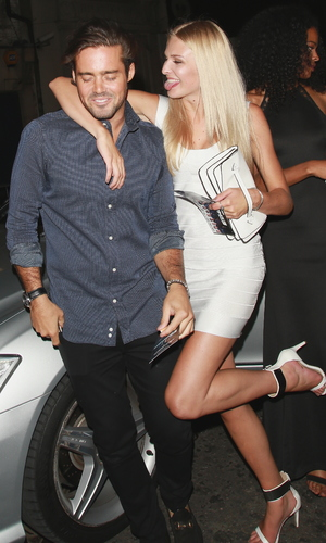 Spencer Matthews at The Expendables 3 - UK film premiere Afterparty at DSTRKT - with mystery blonde. 08/04/2014