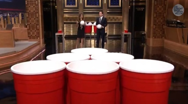 Nina Dobrev plays giant beer pong on Jimmy Fallon