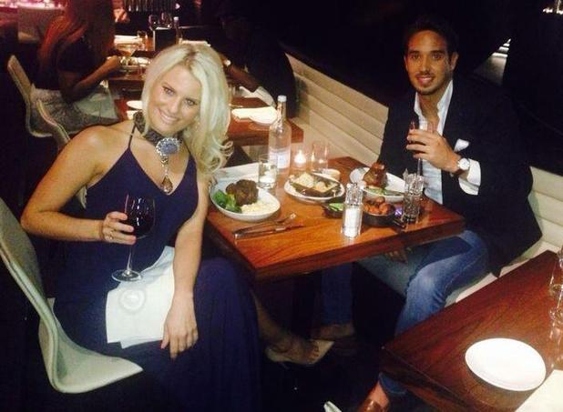 TOWIE's Danielle Armstrong and James 'Lockie' dine out before heading to Expendables 3 premiere. 4 August 2014.