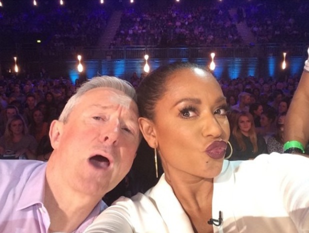 X Factor judges Louis Walsh and Mel B pose for a selfie on the panel (3 August).
