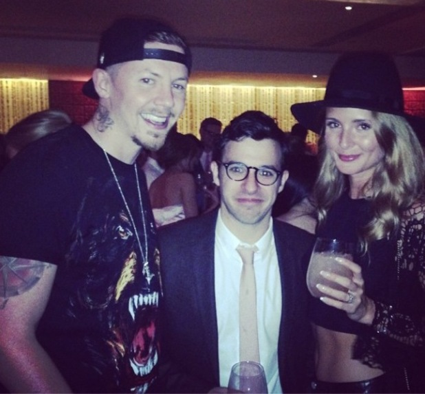 Millie Mackintosh and Professor Green with The Inbetweeners star Simon Bird at Pixie Lott's album party - The Langham Hotel 08/05/2014.