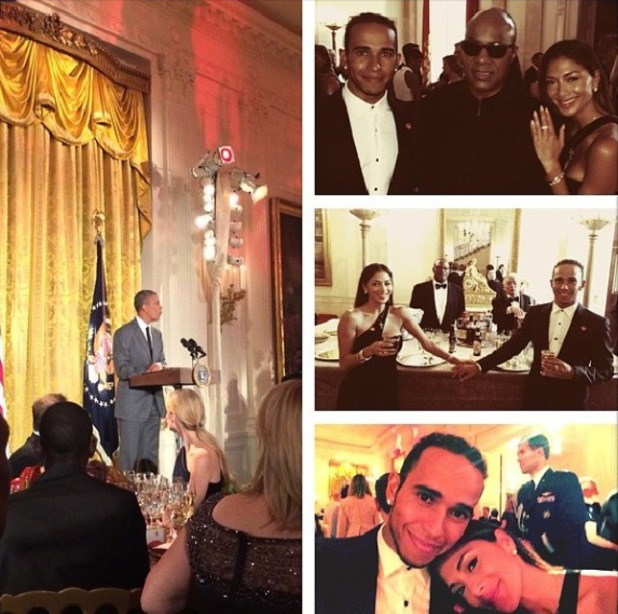 Lewis Hamilton and Nicole Scherzinger join President Barack Obama and First Lady Michelle at the recent Special Olympics dinner (4 August).