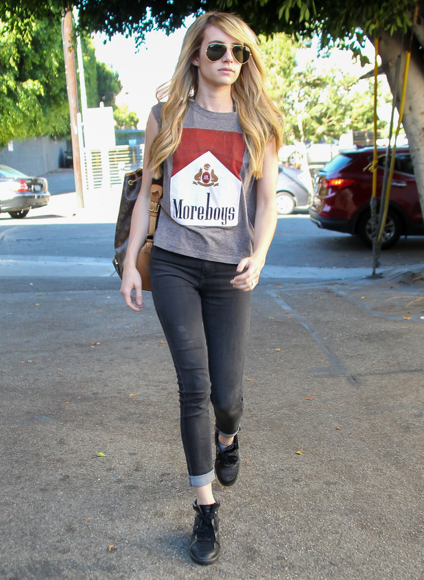 Emma Roberts shows off new long hair extensions while out in Los Angeles, America - 4 August 2014