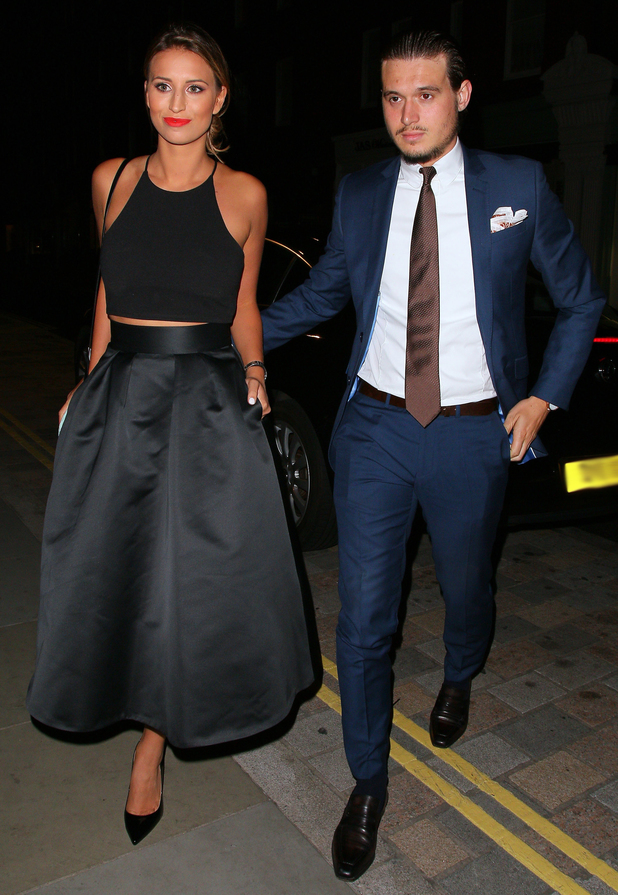 Ferne McCann and Charlie Sims at the Chiltern Firehouse on August 5, 2014 in London, England. 5 August 2014. Photo by Mark Robert Milan/GC Images.