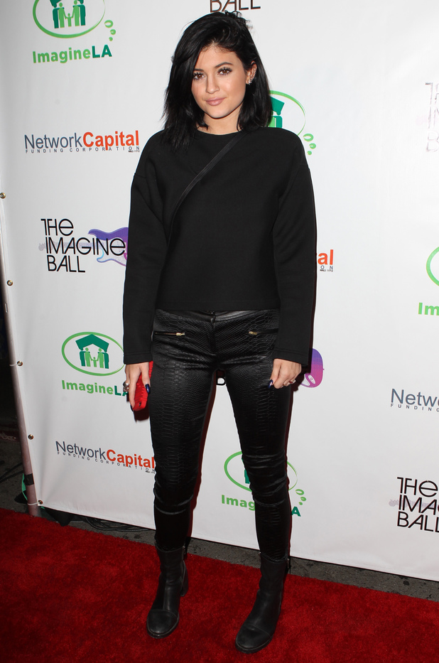Kylie Jenner wears all-black at The Imagine Ball in Los Angeles, America - 6 August 2014