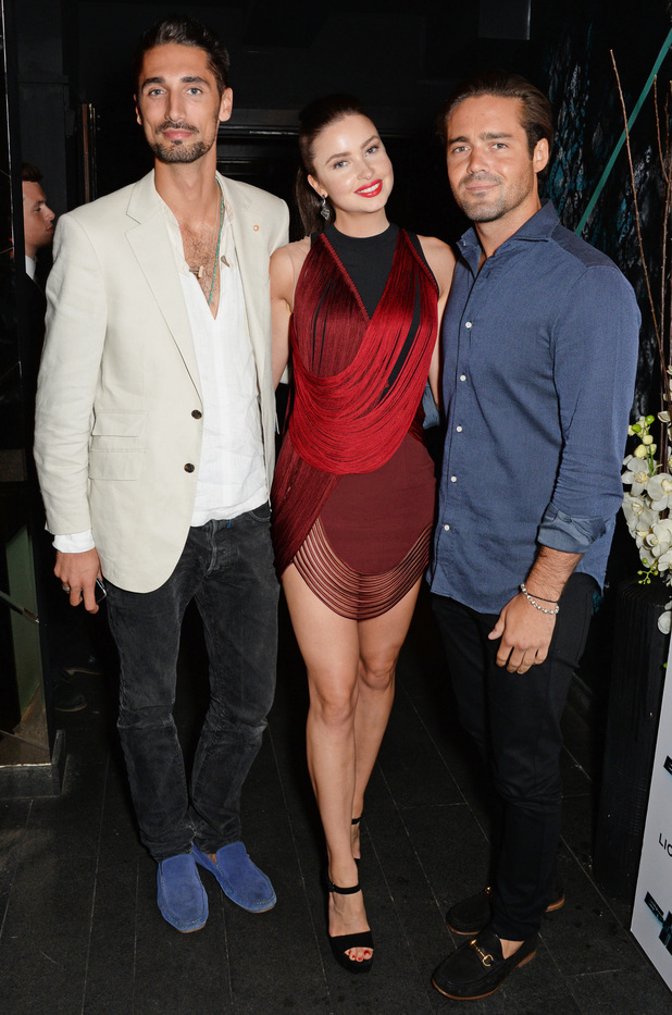 Made In Chelsea's Spencer Matthews, Emma Miller and Hugo Taylor at The Expendables 3 premiere. 4 August 2014.