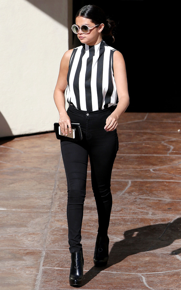 Selena Gomez wears monochrome stripes while out in Calabasas, California - 5 August 2014