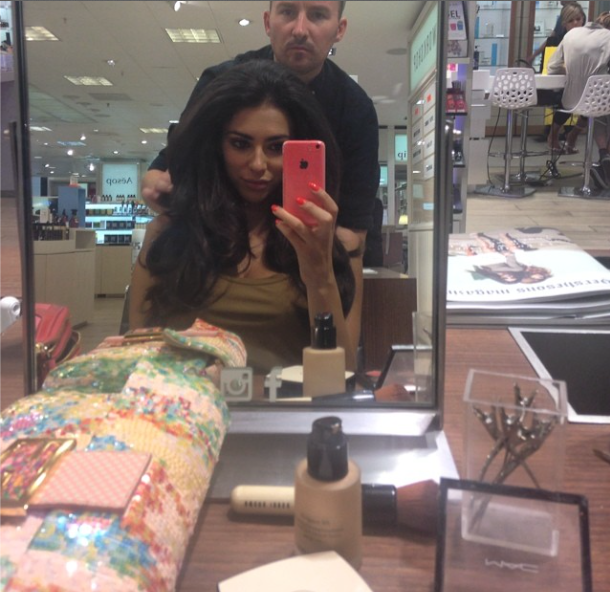 Georgia Salpa shows off new Easilocks extensions while having a blow-dry at Hershesons salon in London, 6 August 2014